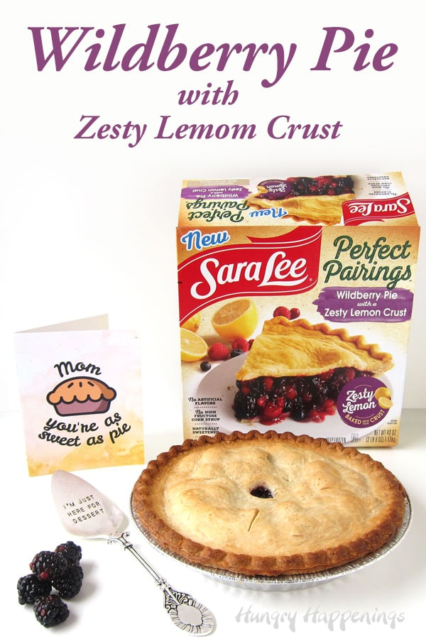 a freshly baked Sara Lee Perfect Pairings Wildberry Pie with Zesty Lemon Crust sitting in front of the box and a greeting card