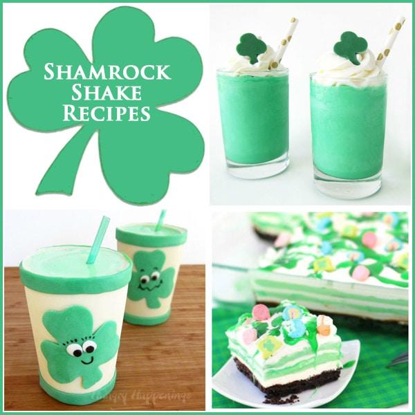 collage of images featuring shamrock shake recipes