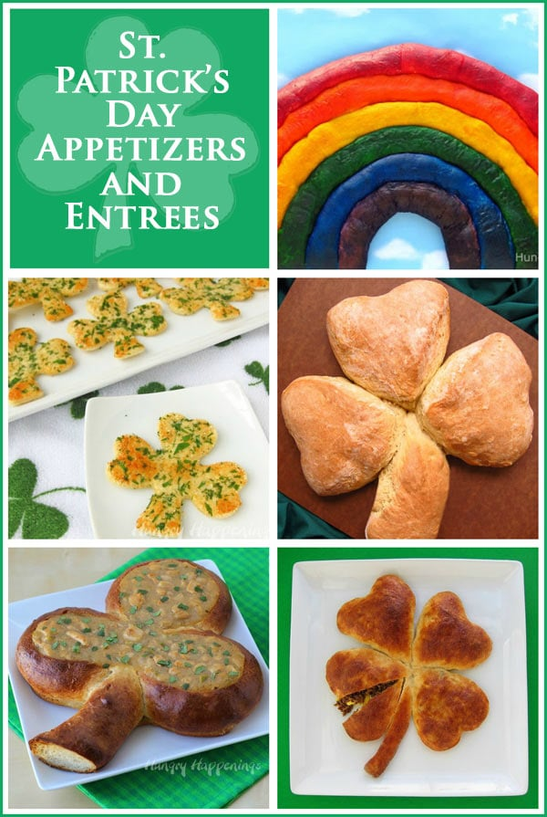 Collage of St. Patrick's Day appetizers and entrees including Shamrock Snack Crisps, Irish Soda Bread Shamrock, and a Breakfast Pizza Shamrock.
