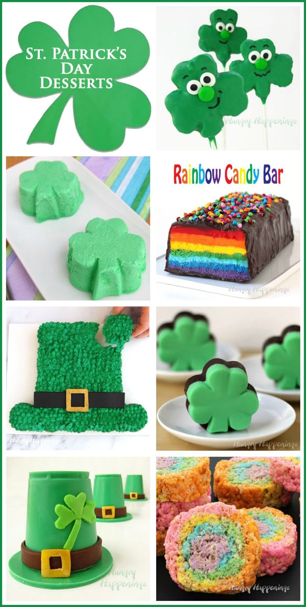 Collage of St. Patrick's Day dessert recipes including Leprechaun Hat Cupcake Cake, Rainbow Candy Bar, Shamrock Fudge and more.