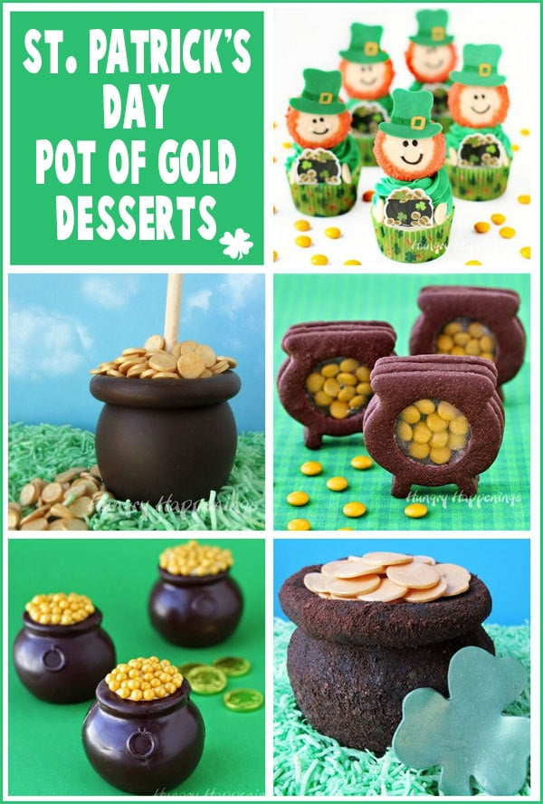 collage of St. Patrick's Day recipe images featuring Leprechaun Cupcakes and Pot of Gold Caramel Apples, Cookies, Mousse, and Cheese Ball