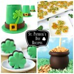 collage of images featuring St. Patrick's Day recipes including Candy Leprechaun Hats, Shamrock Snack Crisps, Creme de Menthe Fudge shamrocks, and Pot of Gold Caramel Apples