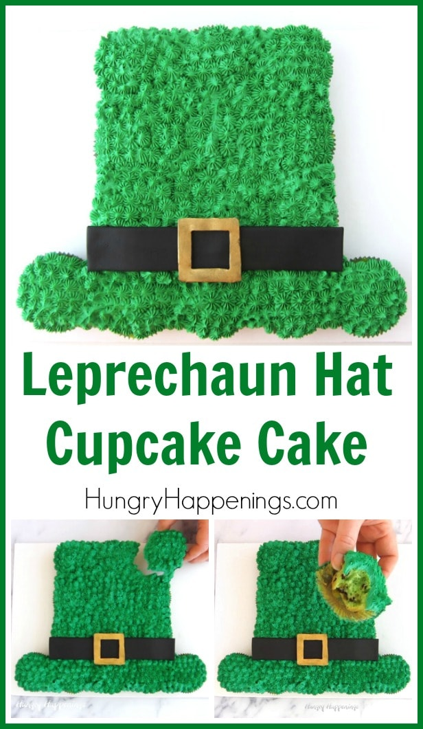 Collage of images showing the whole Leprechaun Hat Cupcake Cake along with a picture of one cupcake being pulled apart from the cake and then a picture of one cupcake with a bite taken out of it.