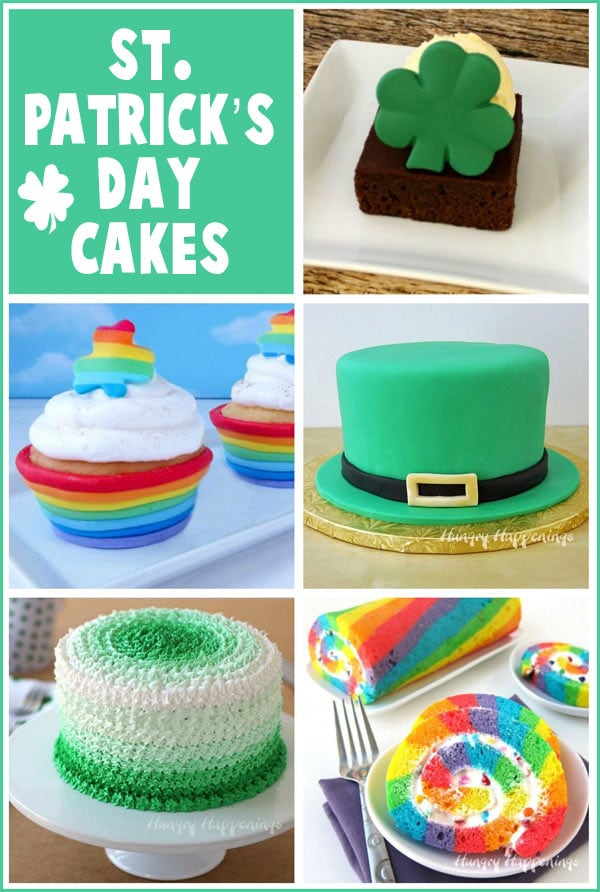 Collage of St. Patrick's Day cakes and cupcakes including a Leprechaun Hat Surprise Cake, a Rainbow Cake Roll and Shamrock Brownies.