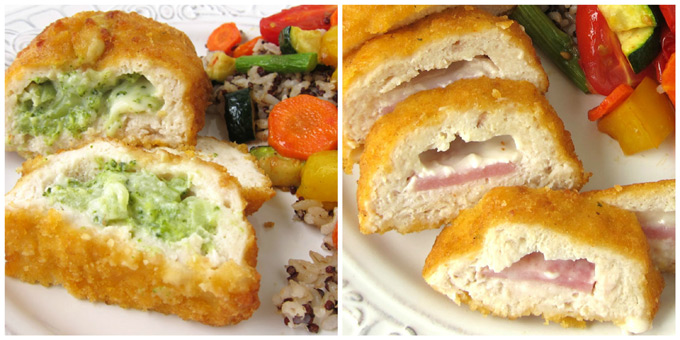 Close-up images of broccoli & cheese and Cordon Bleu Stuffed Chicken Breasts.