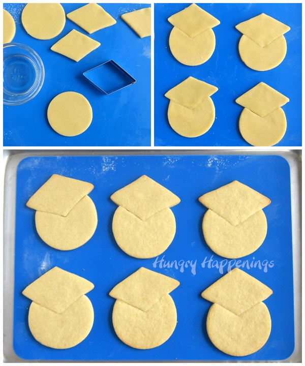 collage of images showing how to cut a triangle shaped notch out of a round of cookie dough then attach a diamond shaped grad cap to each cookie