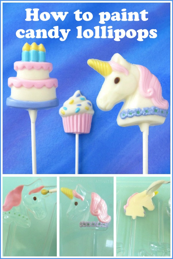 collage of images showing how to paint candy lollipops including a white chocolate unicorn lollipop, a pastel birthday cake and a cupcake