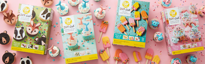 DIY-Lish Decorating Kits from Wilton featuring Cute Critters, Mermaid Cupcakes, Gummy Candies, and Popsicle Lollipops
