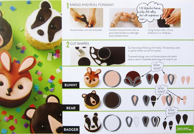 step-by-step project card showing how to knead fondant, roll it out, and cut out the shapes needed to make rice krispie treat bears, bunnies, and badgers