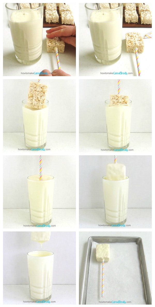 collage of images showing how to dip a rice krispie treat into a glass of white chocolate