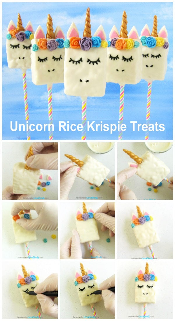 Collage of images showing how to add the modeling chocolate horn, ears, and flowers to a Unicorn Rice Krispie Treat