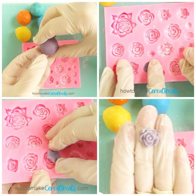 Collage of images showing how to push modeling chocolate or fondant into a silicone mold to create beautiful roses.