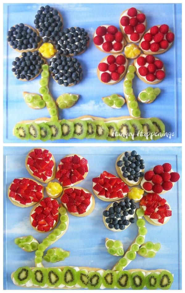 Fruit pizza flowers can be decorated with any of you favorite berries or fruit pieces. I used raspberries, blueberries, grapes, kiwi, and pineapple to decorate these.