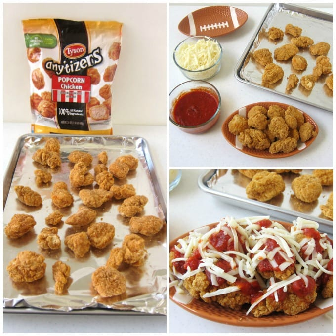 Top Tyson Popcorn Chicken with marinara sauce and mozzarella cheese then pop in the oven to melt the cheese and serve nacho style.