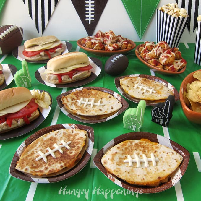 football themed game day recipes including Chicken Italiano Subs, Chicken & Cheese Quesadilla Footballs, and Chicken Parmesan Nachos