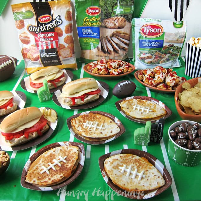 Game day recipes featuring Tyson Chicken including Chicken and Cheese Quesadilla Footballs, Italian Chicken Subs, and Chicken Parmesan Bites.
