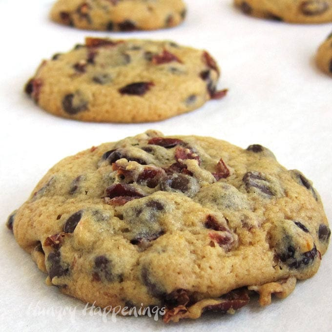 Look at all those chocolate chips and orange infused cranberries in those big chewy cookies!