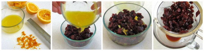 Soak dried cranberries in freshly squeezed orange juice to give them a moist texture and orange flavor.