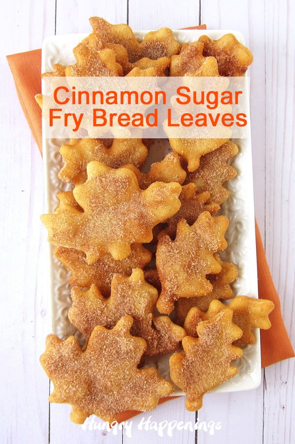 Bring the beauty of the outdoors to your Thanksgiving table by serving these festive Cinnamon Sugar Fry Bread Leaves. Crunchy on the outside and tender on the inside, each leaf-shaped fry bread is sprinkled with cinnamon sugar to make it taste as sweet as it looks.