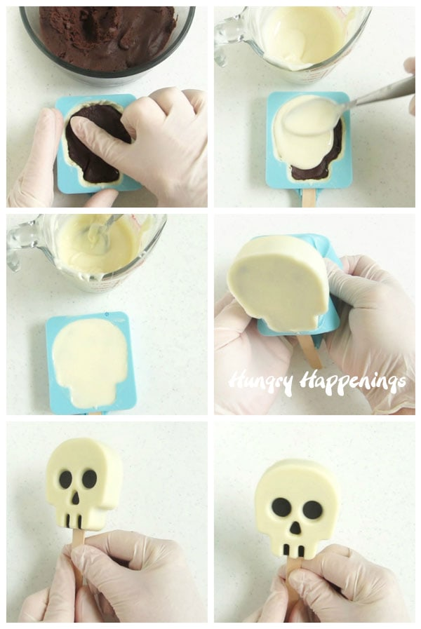 Fill a white chocolate shell with cake ball mixture to create these creepy Cakesicle Skulls for Halloween or the Day of the Dead.