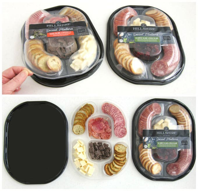 Hillshire Farms Social Platters on plastic black trays