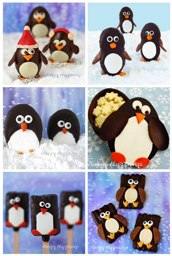 Chocolate Penguin Treats for Christmas including Chocolate Truffle Penguins, Chocolate Rice Krispie Treat Penguins, Chocolate Dipped Marshmallow Penguins, Chocolate Nutter Butter Penguins, Chocolate Penguin Pretzels, and a Chocolate Penguin Candy Box.