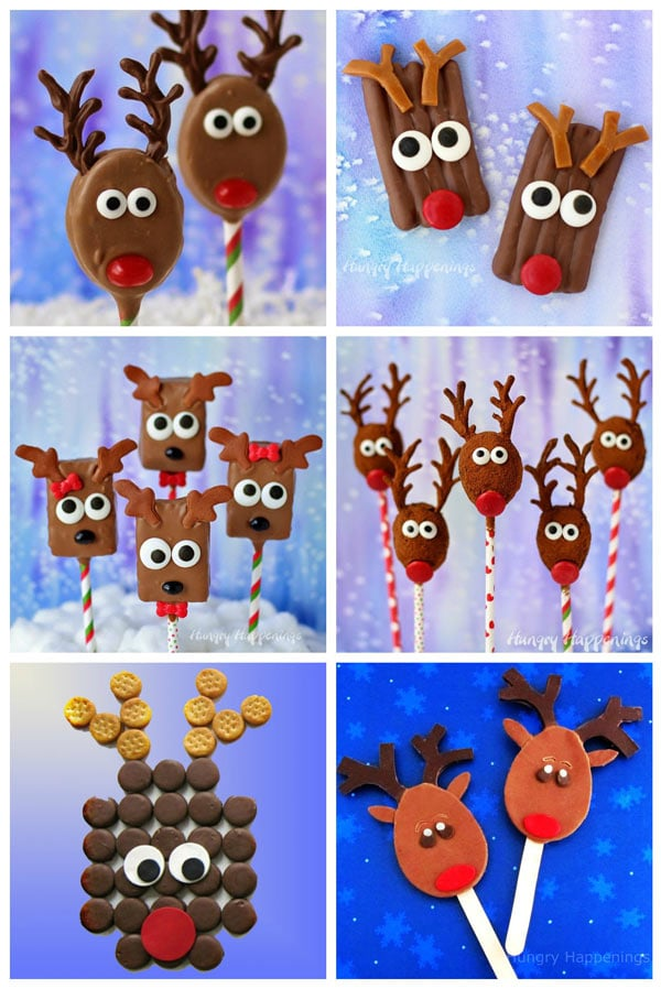 Chocolate Reindeer Treats including Chocolate Dipped Peanut Butter Cracker Rudolph, Rudolph Pretzels, Reindeer Rice Krispie Treats and No-Bake Oatmeal Reindeer Pops, RITZ Rudolph, and Chocolate Reindeer Pops