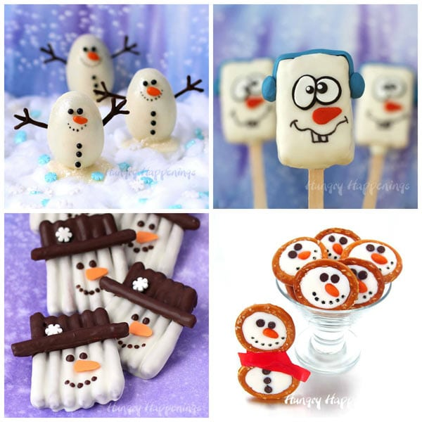 Chocolate Snowmen will warm your heart. Learn how to make Snowmen Truffles, Snowmen Rice Krispie Treats, and Snowmen Pretzels.
