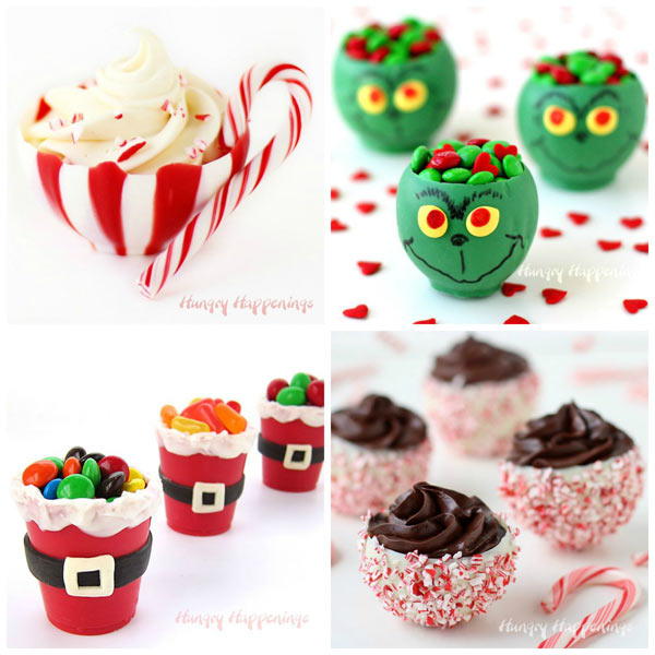 Chocolate Bowls make festive Christmas desserts. Learn how to create Candy Cane Cups, Grinch Candy Cups, Santa Suit Candy Cups, and Peppermint Bark Balloon Bowls.