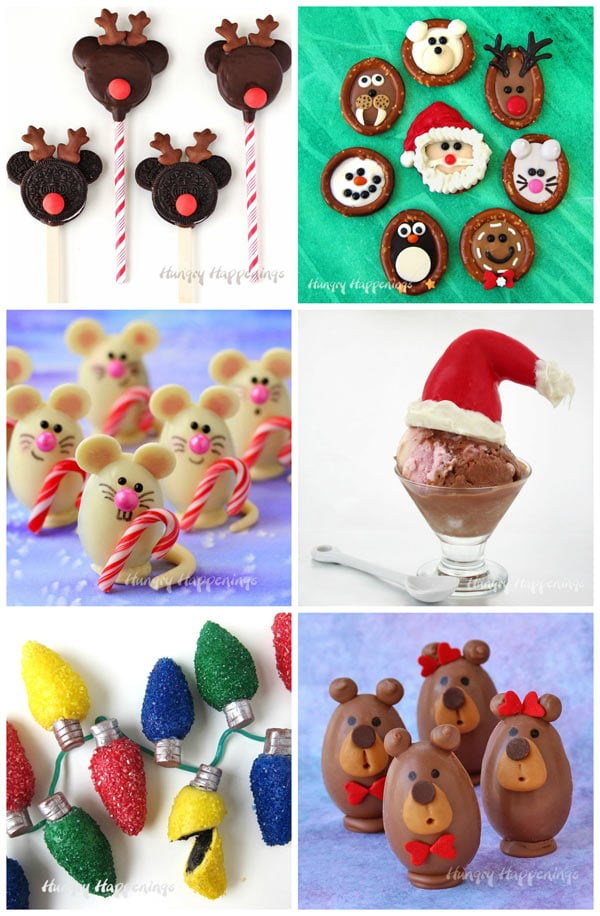 Fun Christmas Chocolates including OREO Rudolph Pops, Christmas Pretzels, Christmas Mice Truffles, Santa Hat Cones, OREO Truffle Christmas Lights and Teddy Bear Truffles.