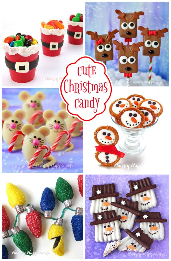 Cute Christmas Candy including Santa Suit Candy Cups, Reindeer Rice Krispie Treats, Christmas Mice Truffles, Snowman Pretzel Rings, Oreo Truffle Christmas Lights, and Snowman Pretzel Crafts.