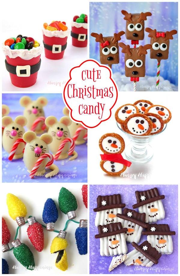 Cute Christmas Candy including Santa Suit Candy Cups, Reindeer Rice Krispie Treats, Christmas Mice Truffles, Snowman Pretzel Rings, Oreo Truffle Christmas Lights, and Snowman Pretzel Crafts.