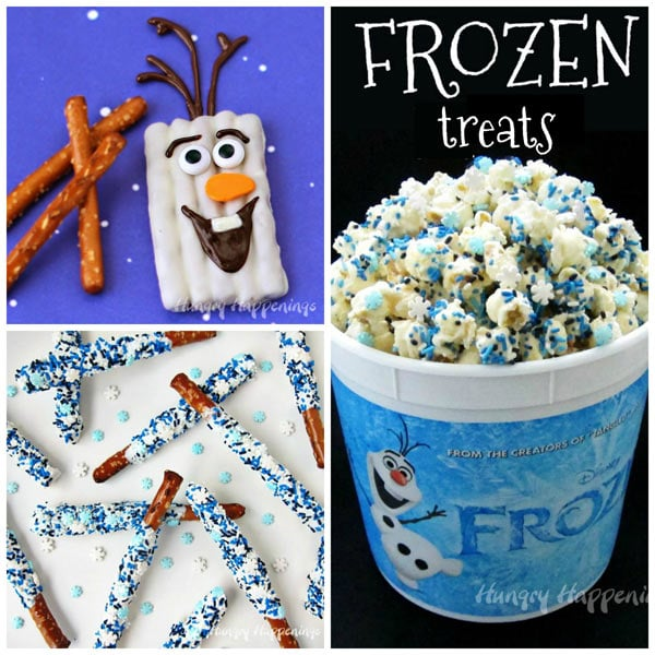 Disney Frozen party favors made with white chocolate including Olaf pretzels, Frozen Popcorn, and Frozen Pretzels.
