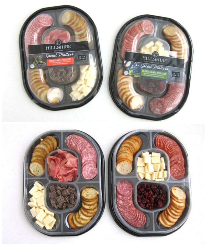 Hillshire Farms Social Platters are filled with Genoa Salame, Calabrese Salame, white cheddar cheese, sea salt toasted rounds, dried cranberries & cherries, Prosciutto, garlic and herb toasts, and chocolate chunks.