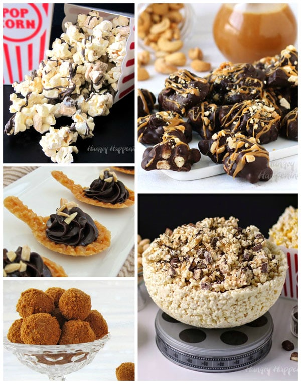 Homemade chocolates like S'mores Popcorn, Chocolate Caramel Nut Clusters, Nougatine Spoons with Chocolate Ganache, Biscoff Truffles, and White Chocolate Popcorn Bowls make great Christmas gifts or desserts.