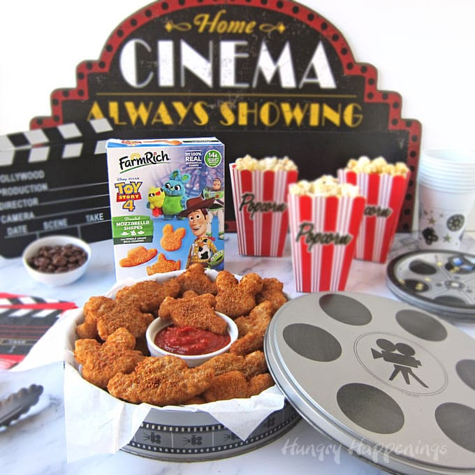 Movie Night Snacks featuring Disney and Pixar Toy Story 4 Mozzarella Shapes from Farm Rich