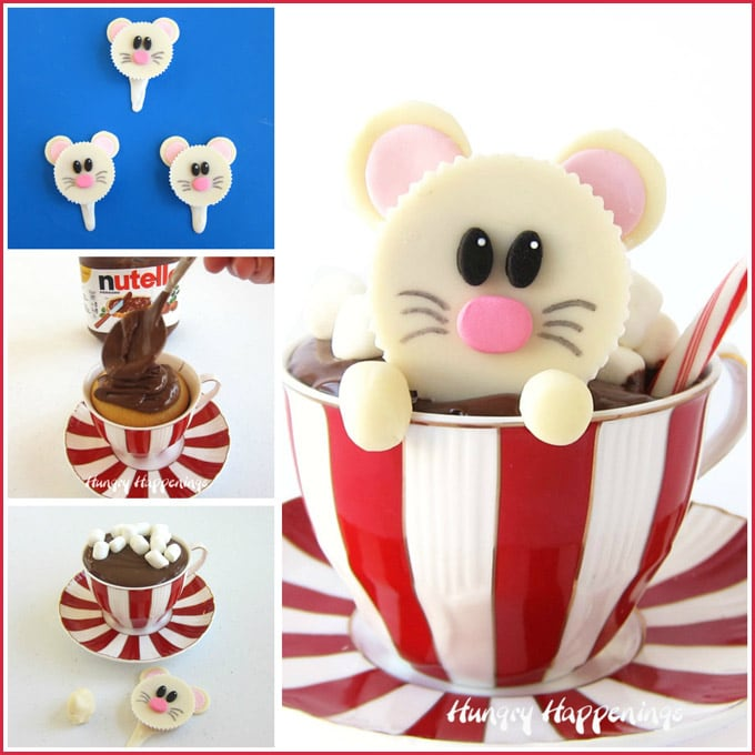 Place a cupcake in a Christmas tea cup then top with warmed chocolate hazelnut spread and insert an adorable White Reese's Cup Mouse to make these cute Christmas cupcakes.