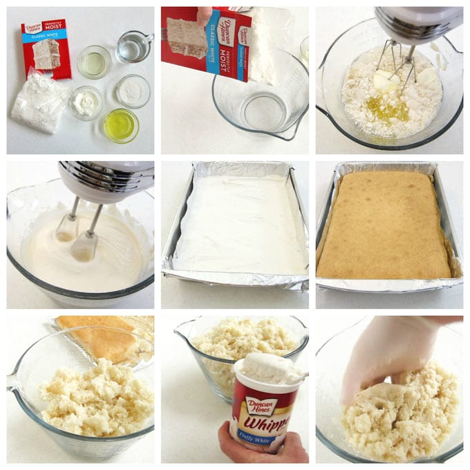 Use Duncan Hines White Cake Mix to create creamy cake ball mixture.