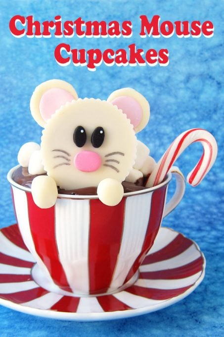 Warm up this winter with a cute Christmas Mouse Cupcake. This hot cocoa cupcake is topped with a White Chocolate Reese's Cup Mouse decorated with sweet modeling chocolate.