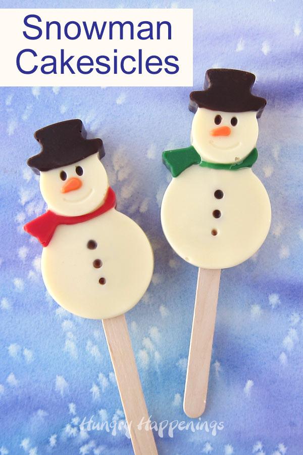 Cute Snowman Cakesicles make festive treats for Christmas.