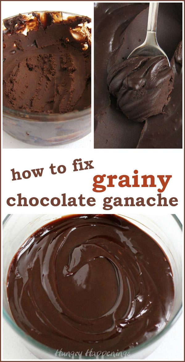pictures of grainy and gritty ganache and smooth and glossy chocolate ganache