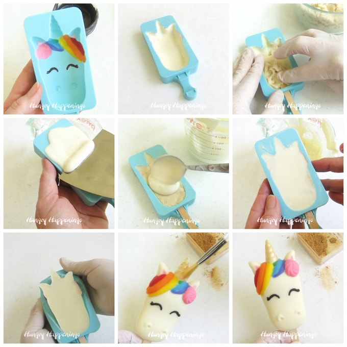 Step-by-step images showing how to fill a white chocolate unicorn with cake ball filling before covering it in more white chocolate. Then brush edible gold luster dust over the horn.