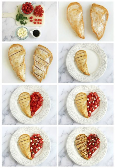 Collage of images showing how to arrange a chicken breast with tomatoes, feta cheese, basil and balsamic glaze on a white plate to look like a heart.