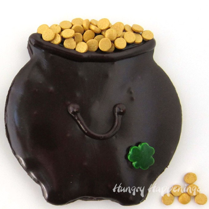 Chocolate Pot of Gold Cookies Glazed with Chocolate Ganache with Gold Quin Sprinkles (coins).