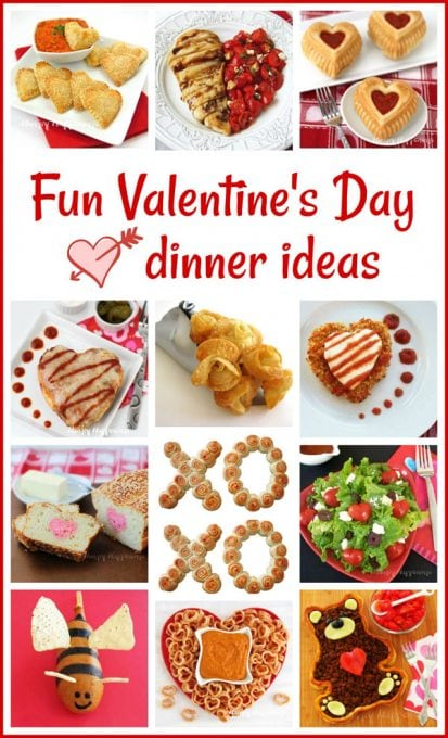 Fun Valentine's Day Dinner Ideas including Teddy Bear Taco Tart, Tomato Heart Salad, Chicken Parmesan Hearts, Calzone Hearts and more.