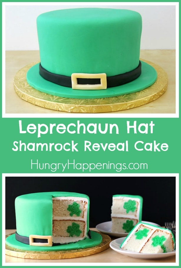Leprechaun hat cake covered in green fondant is cut to reveal shamrocks inside the white cake layers.