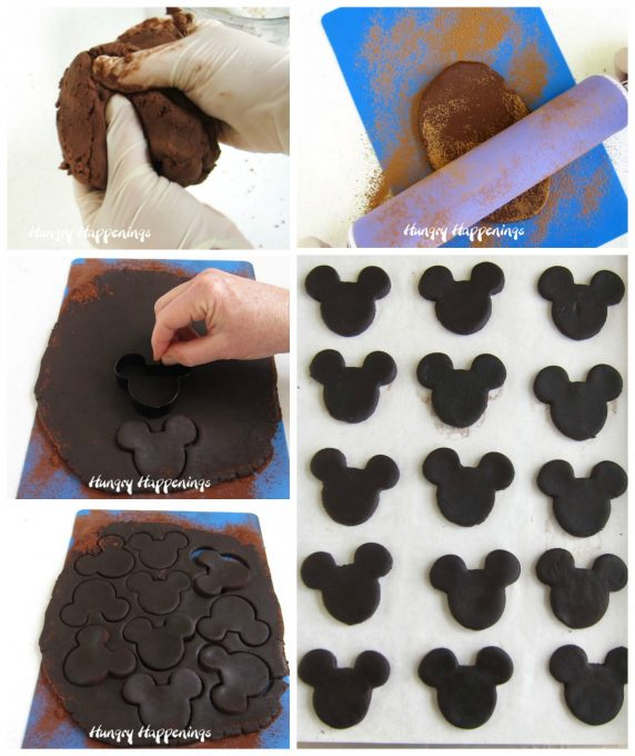 Roll out chocolate cookie dough with Mickey Mouse Cookie Cutter