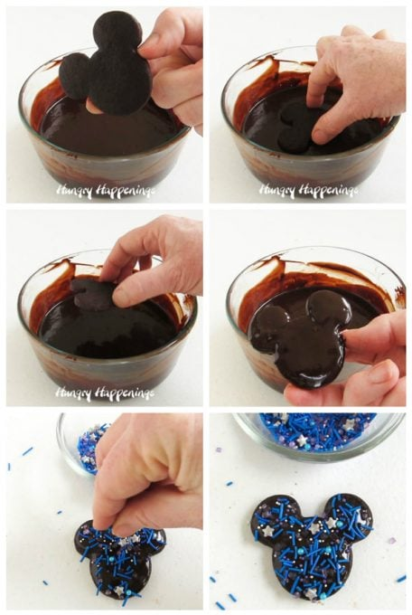 Dip chocolate Mickey Mouse Cookies in chocolate ganache then top with galaxy sprinkles.