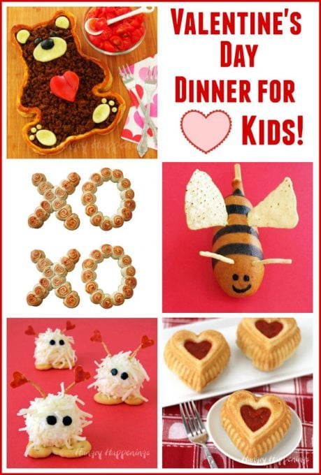 Valentine's Day dinner for kids including Teddy Bear Taco Tart, Bumble Bee Corn Dogs, Calzone Hearts & more.