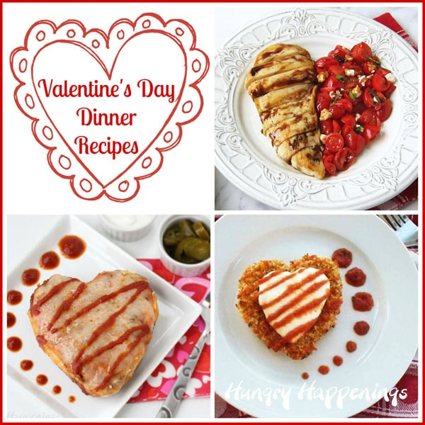 Heart-shaped chicken dinners for Valentine's day including Balsamic Chicken & Tomato Hearts, Chicken Enchilada Hearts and Chicken Parmesan Hearts